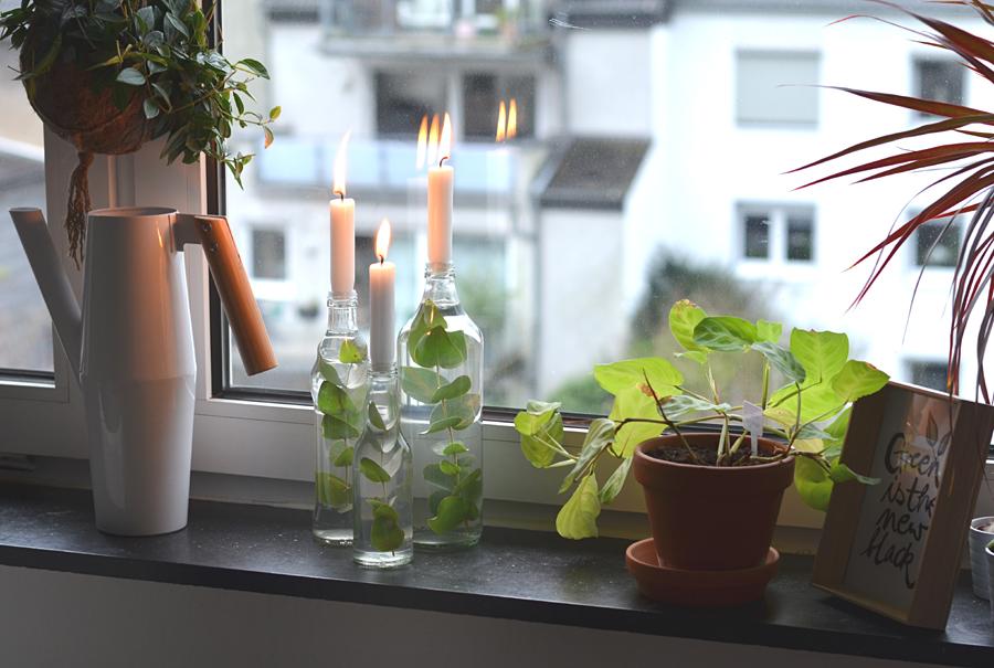 Kerzenhalter mit Eukalyptus