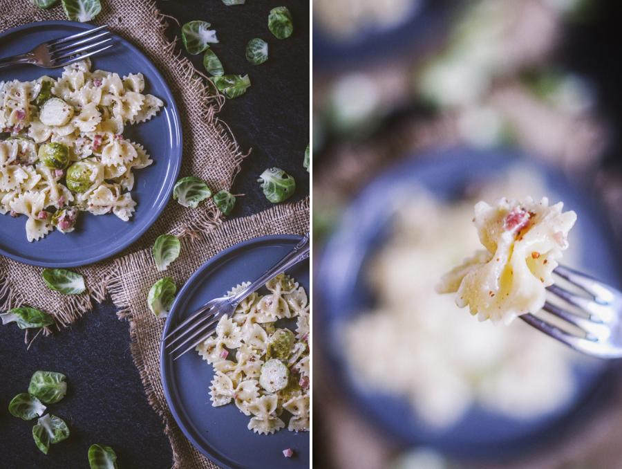 Rezept Pasta mit Rosenkohl in Sahne-Senf-Soße und Speck