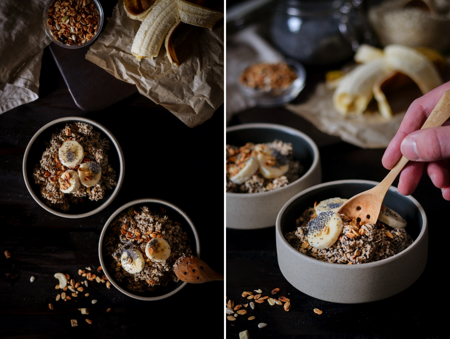 Porridge mit Banane, Mohn und Zimt
