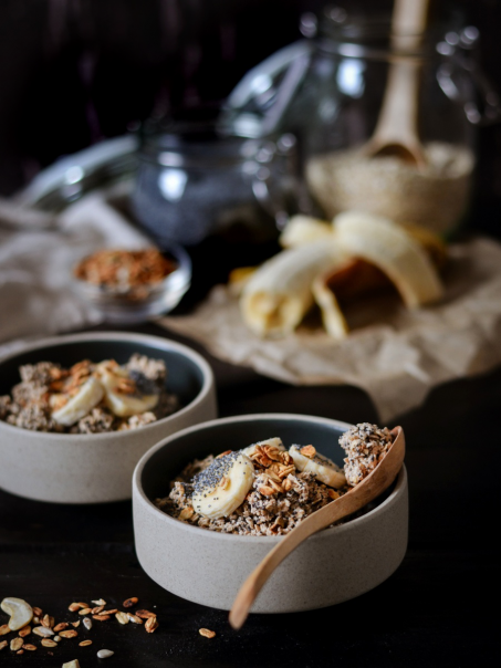 Rezept Porridge mit Banane, Zimt und Mohn