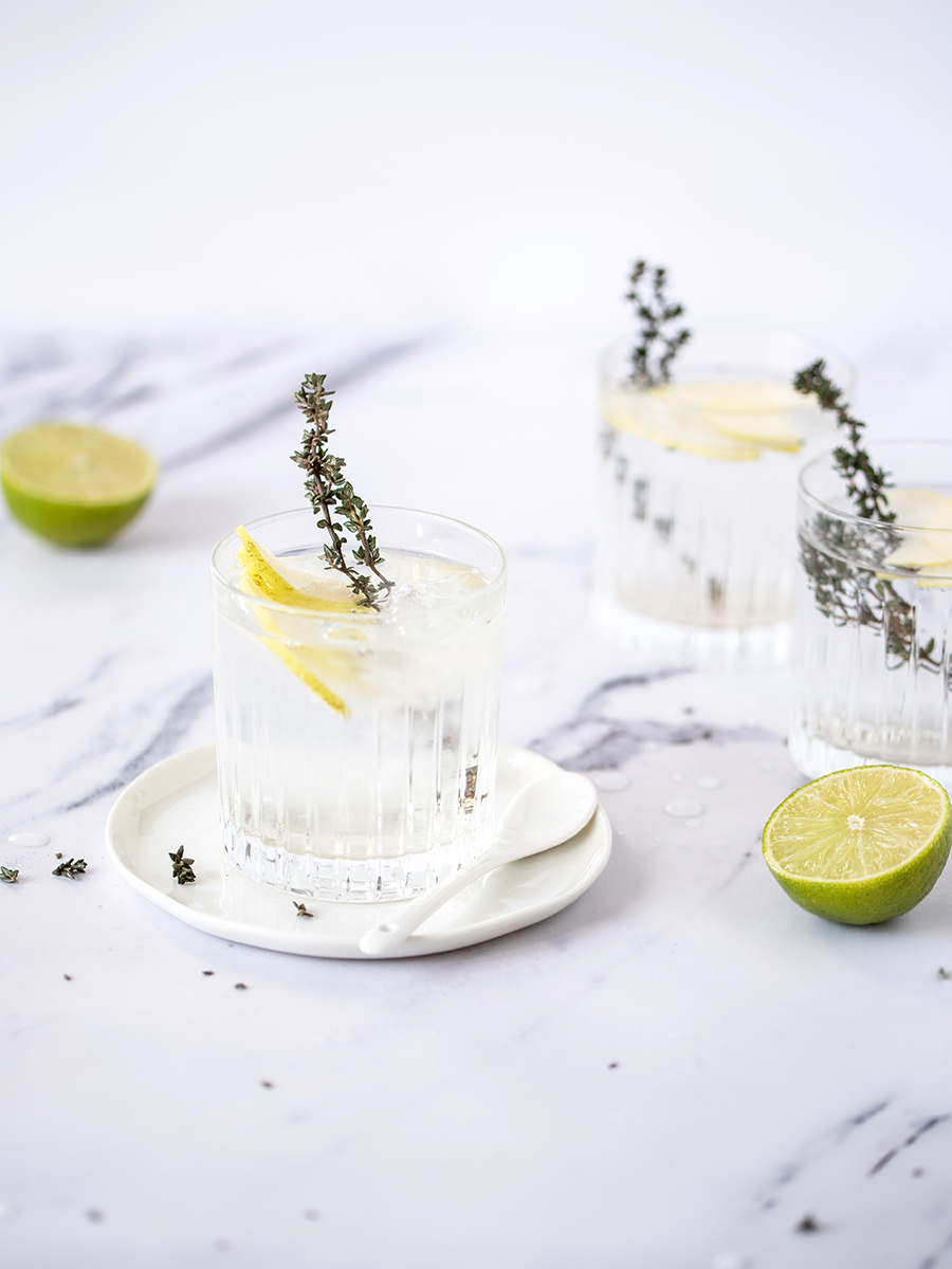 Rezept Gin Tonic mit Thymian und Apfel